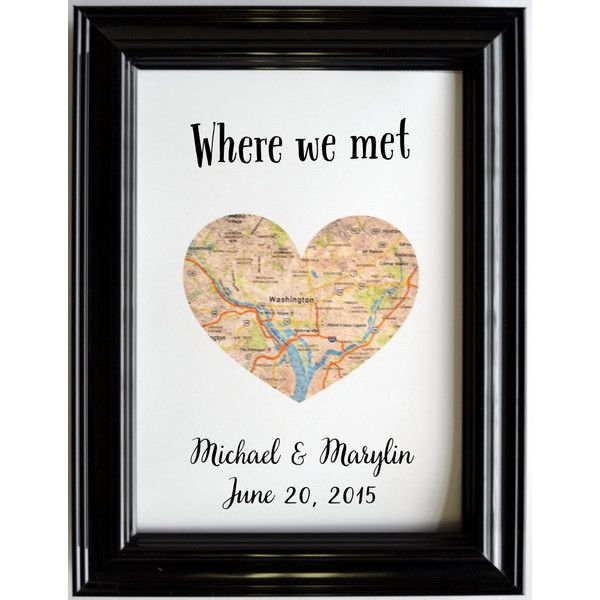 Personalized Map Location Place of Where We Met Engagement Gift Art ...