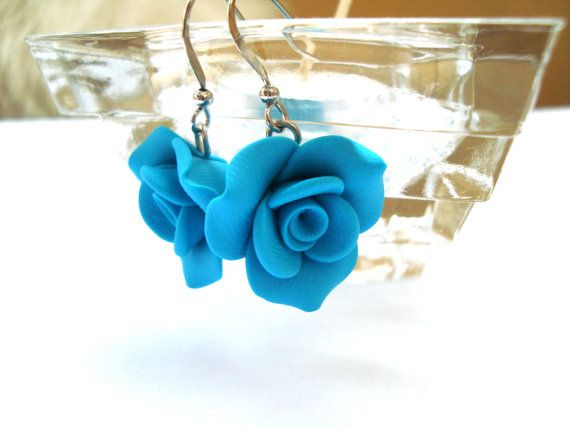 Rosebud Rose Flower Polymer Clay Turquoise Blue by sevdacholakova, $12.50