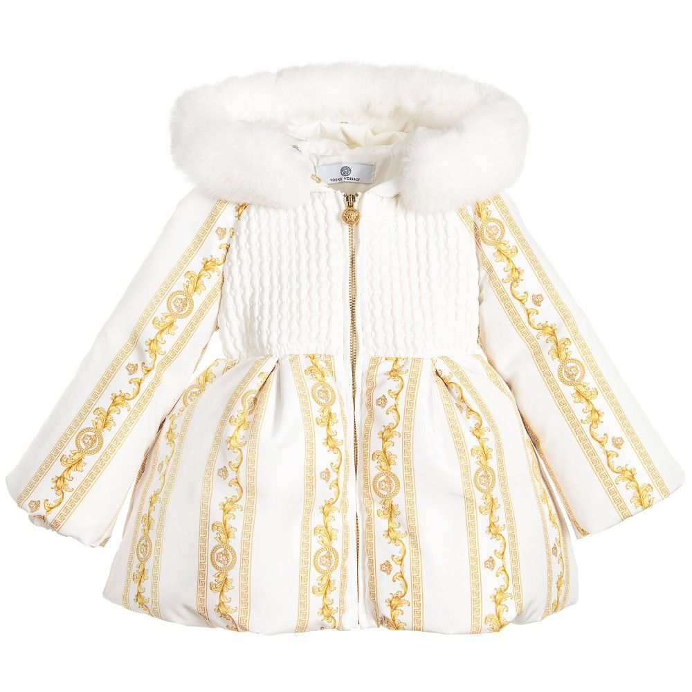Young Versace Baby Girls Ivory Cornici Down Padded Coat -8121