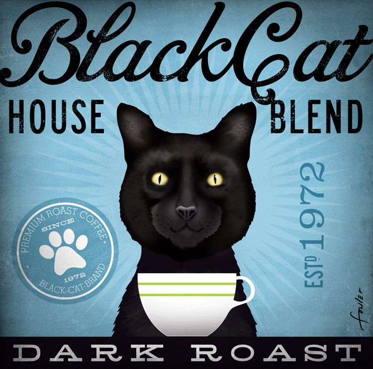 Black Cat Coffee Company illustration graphic artwork on canvas 12 x 12 by stephen fowler