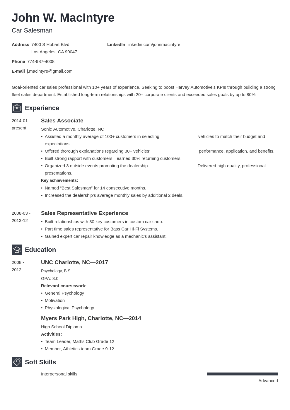 Car Salesman Resume Example Template Newcast Resume Examples Job Resume Examples Resume Layout