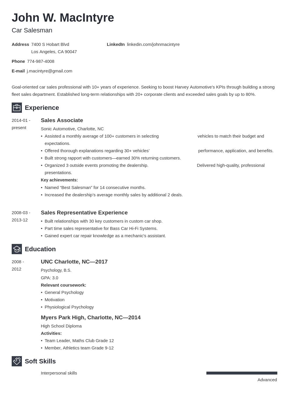 Car Salesman Resume Example Template Newcast Resume Examples Job Resume Examples Resume Layout