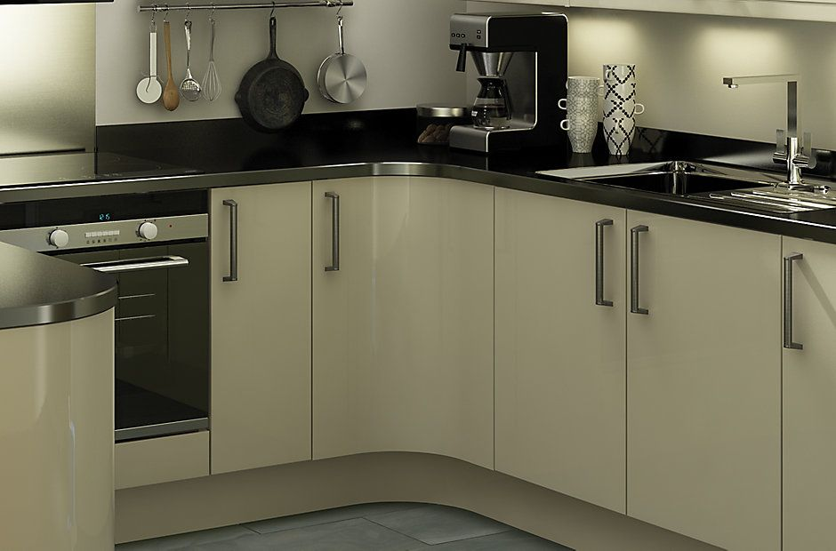 It Santini Gloss Grey Slab Diy At B Q Kitchen Fittings Bungalow Kitchen Grey Gloss Kitchen