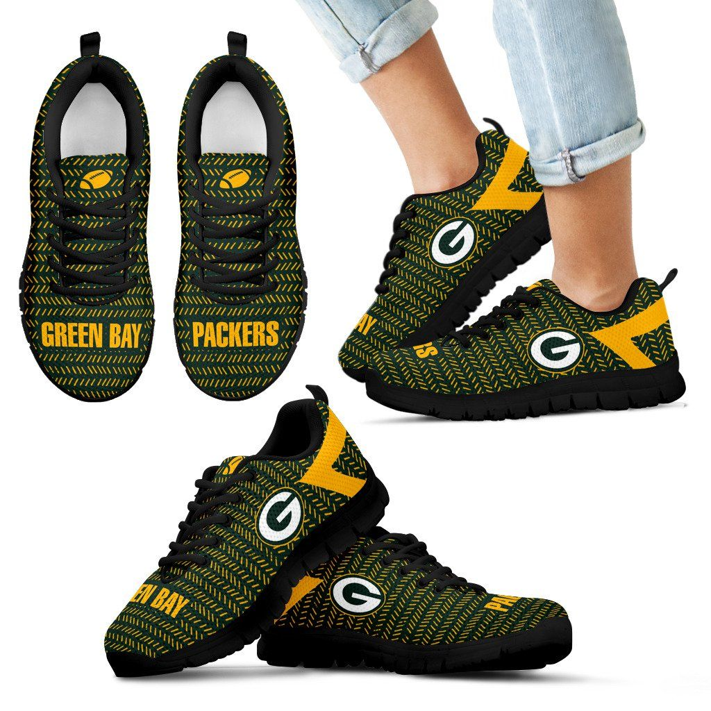 Pattern Logo Slide In Line Green Bay Packers Sneakers Green Bay Packers Green Bay Sneakers
