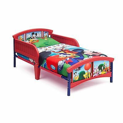 Plastic Toddler Bed Disney Mickey Mouse 2 Guardrails Children Bedroom Furniture