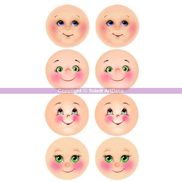 8 expressions visage imprimées en mousse thermoformable de diam. 4,5 cm, pour Fofucha Fommy, Kits