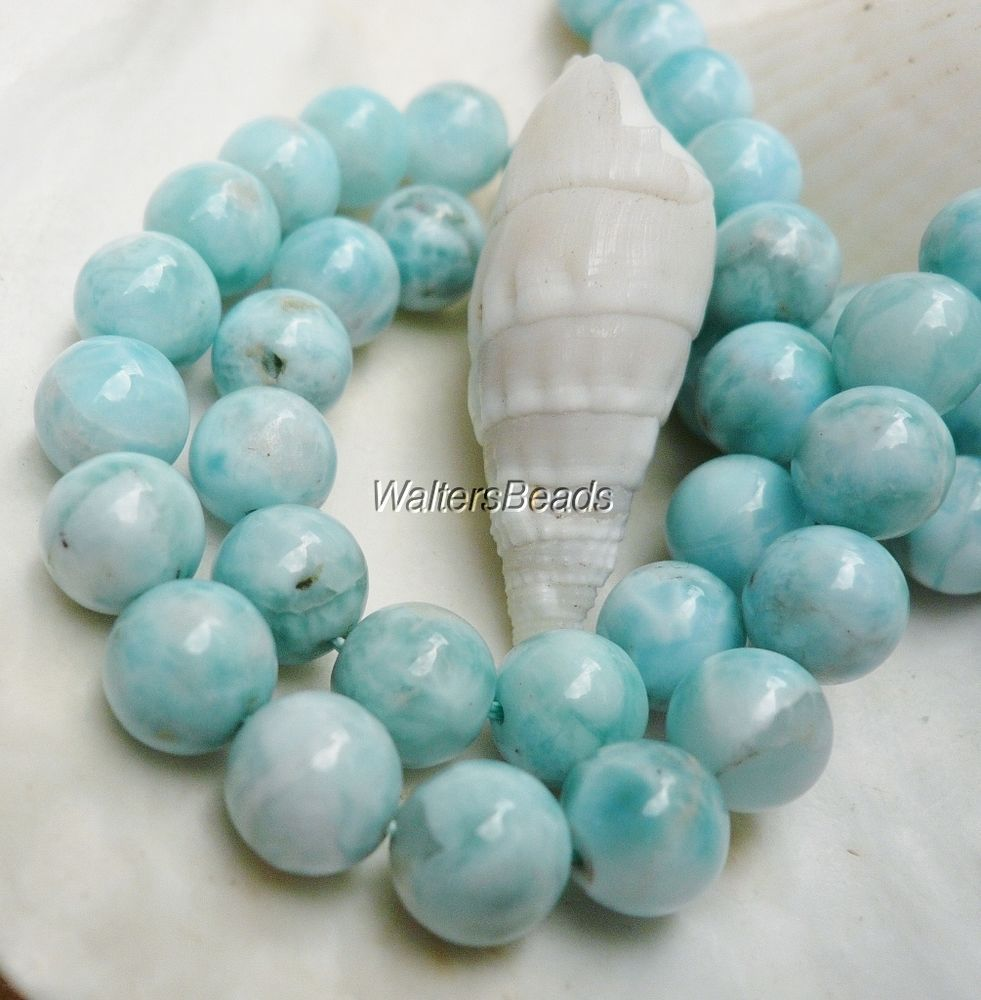 Larimar Dominican Top Quality AA Light Blue Gemstone Round Beads 12 MM 16