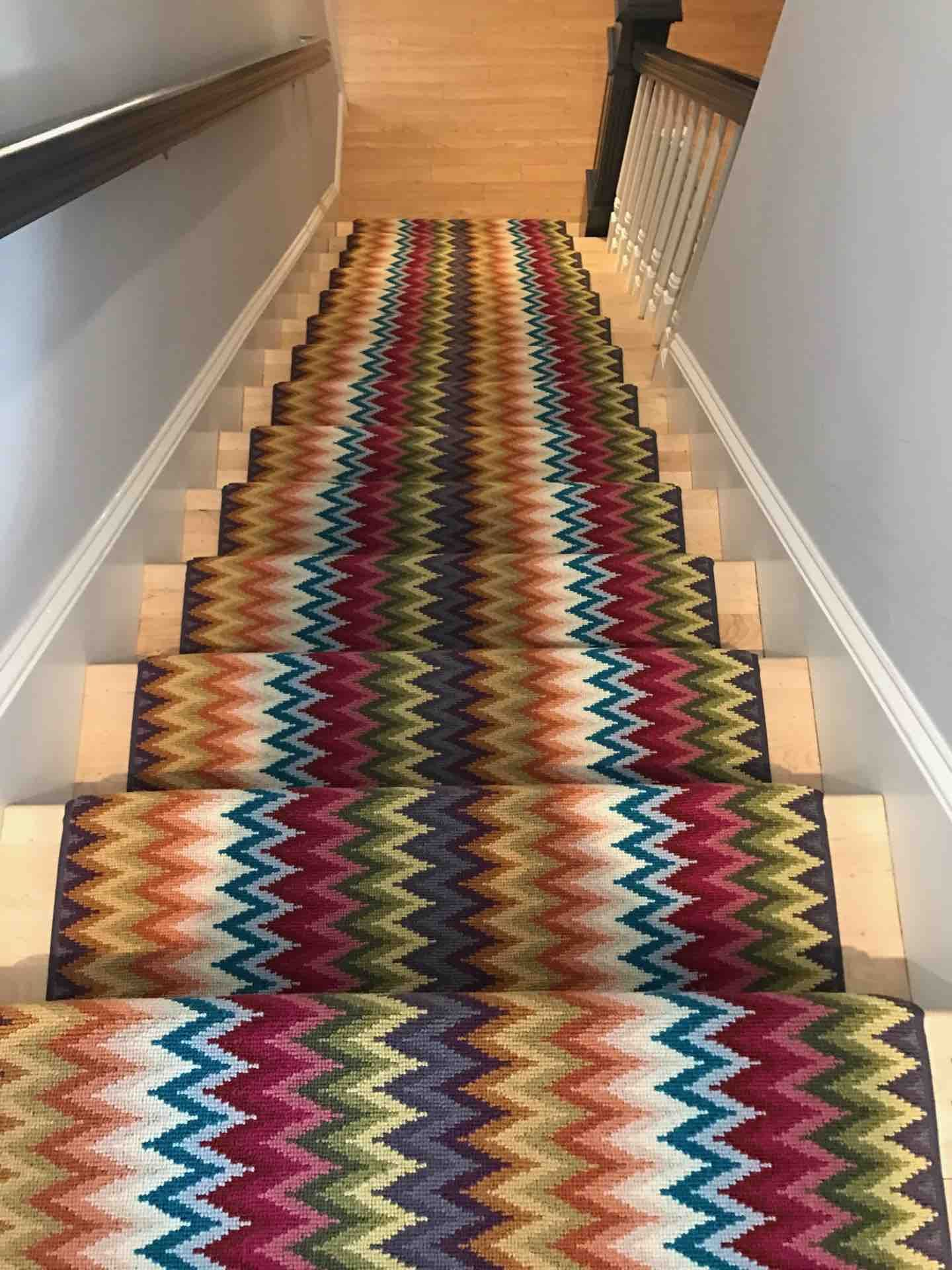 This Colorful Stair Runner And Its Zig Zag Pattern Bring An | Zig Zag Carpet On Stairs | Mohawk Patterned Carpet | Stair Triangular Landing | Before And After | American Style | Silver Grey
