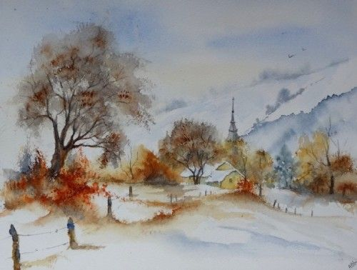 Aquarelle abby paysage neige hiver arbres froid village for Aquarelle facile