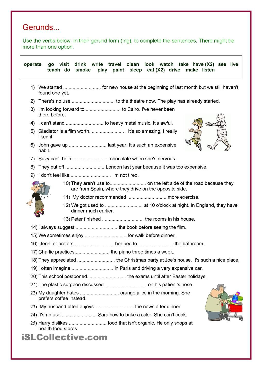 Worksheets Gerunds Worksheet verb gerund review lesson plan for ling pinterest english review