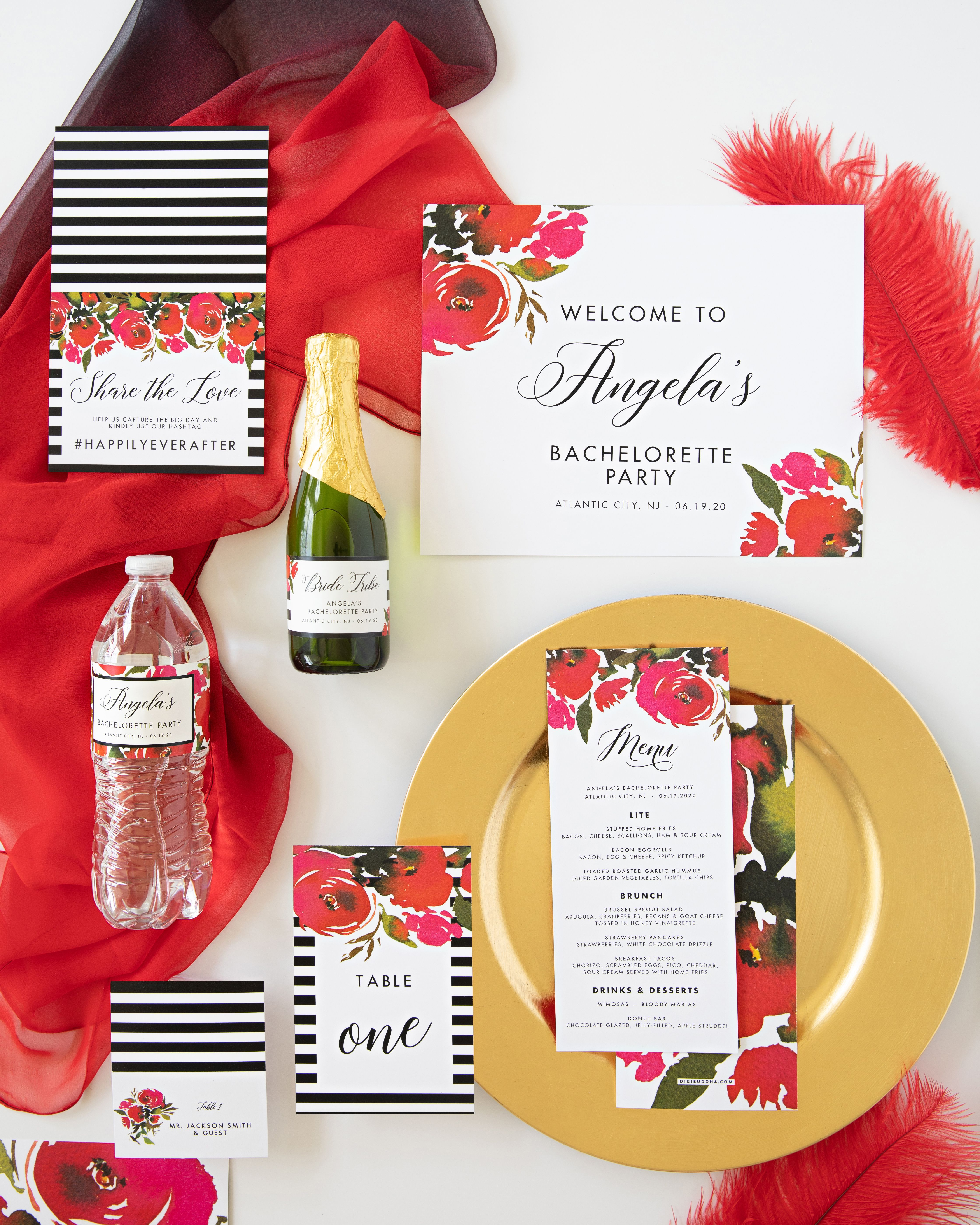 Red Roses Black Stripes Bachelorette Invitation Coll 1b In 2020 Bachelorette Invitations Bachelorette Party Bachelorette Party Accessories