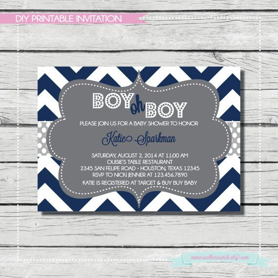 Navy Boy Oh Boy Baby Shower Invitation Digital Printable Invitati Baby Shower Invitations Diy Baby Shower Invitations For Boys Trendy Baby Shower Invitations