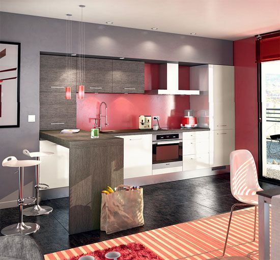 une cuisine moderne bien agenc e en blanc gris et rouge. Black Bedroom Furniture Sets. Home Design Ideas