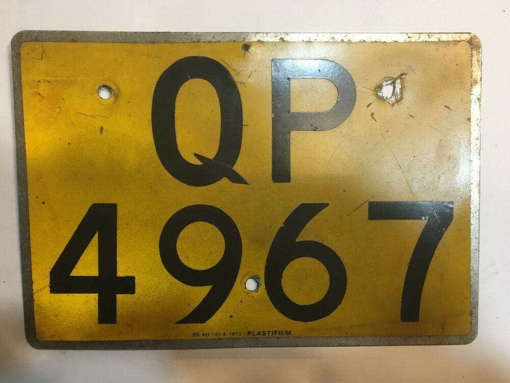 Vintage British Hong Kong Licence Plate Bs Au 145a Qp 4967