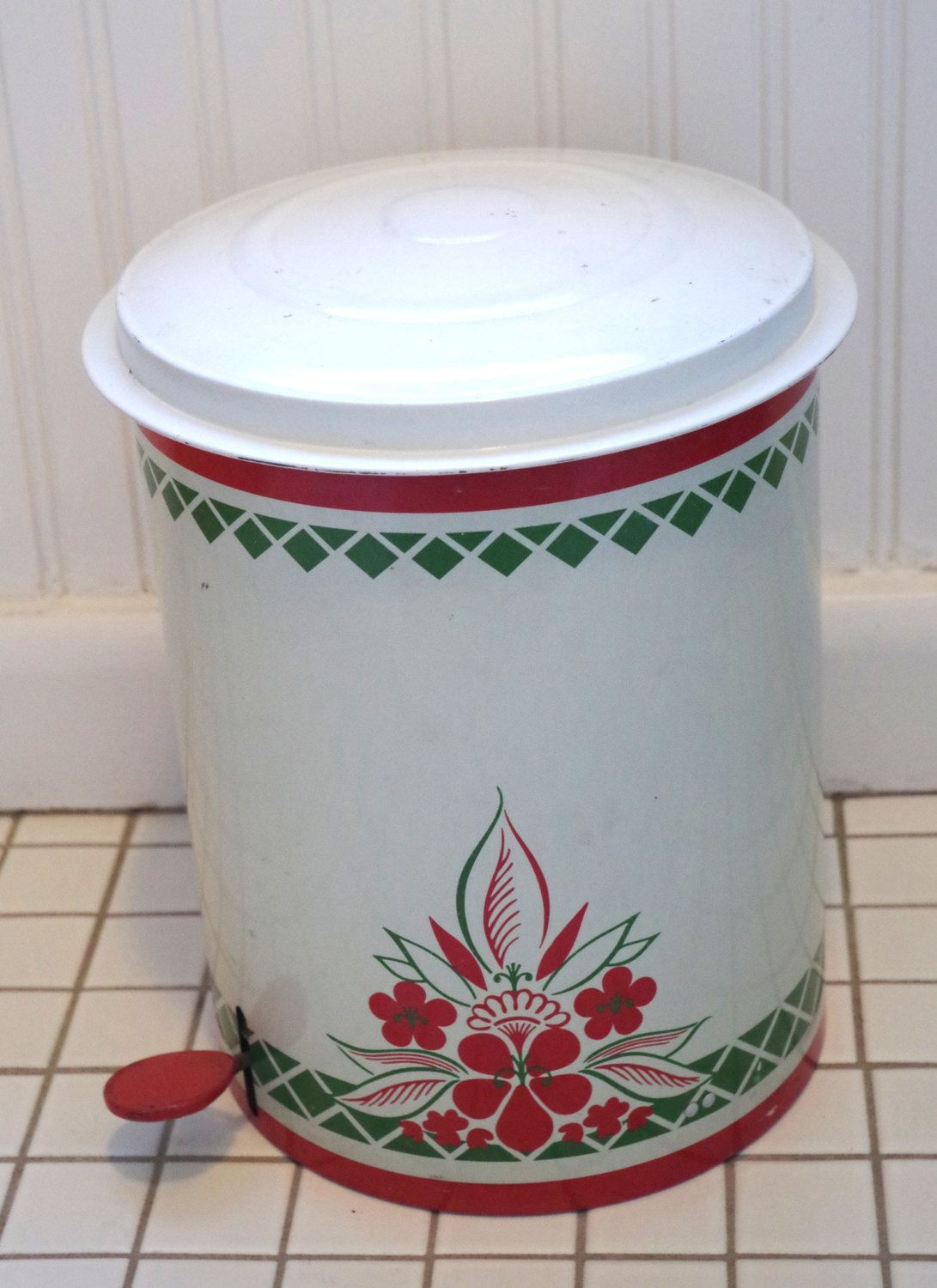 Bathroom Accessories Etsy wonderful vintage flip top metal trash can country kitchen