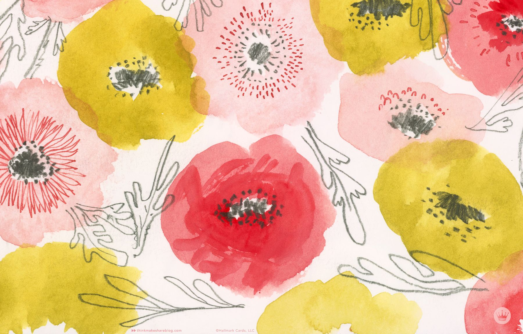 Think Make Share Goes Spring Crazy With Three Digital Wallpapers And A Playlist Floral Wallpaper Desktop Watercolor Desktop Wallpaper Spring Desktop Wallpaper