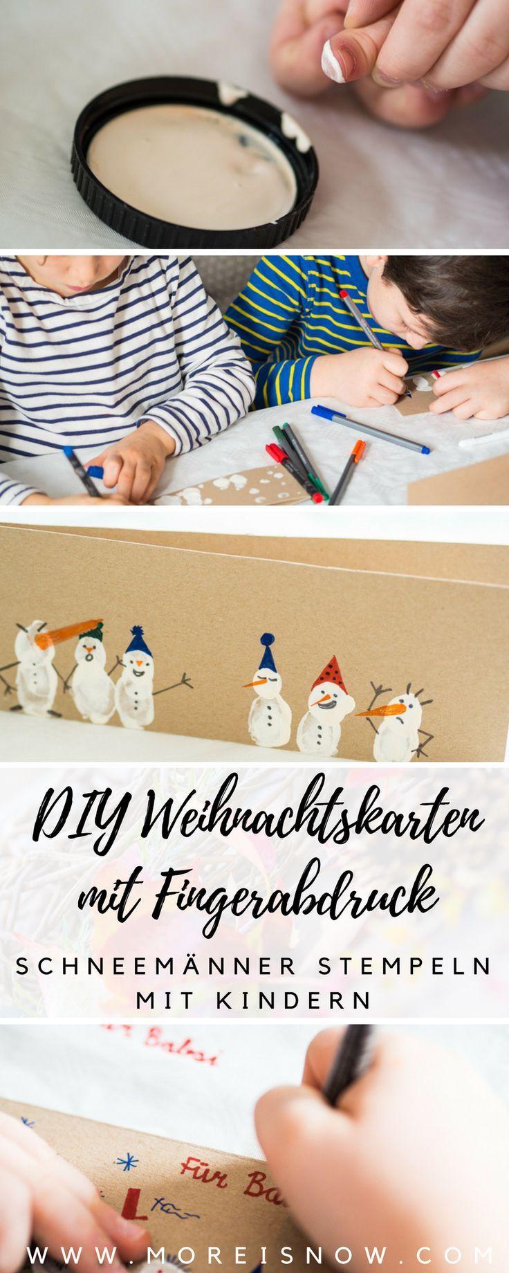 DIY Weihnachtskarten mit Fingerabdruck Schneemännern & entspanntes Prickeln für wilde Wichtel plus 2 Sets als Give Away - More is Now #christmascards