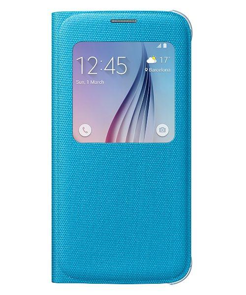 Samsung Galaxy S6 S View Flip Case Stof Blauw