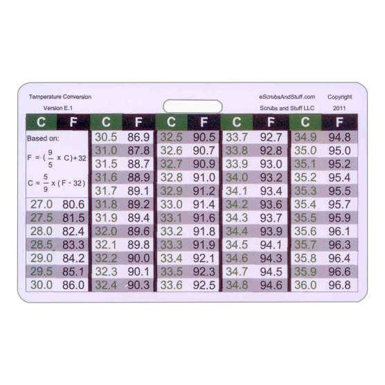 Temperature Conversion Badge Pocket Card Horizontal Accessory For