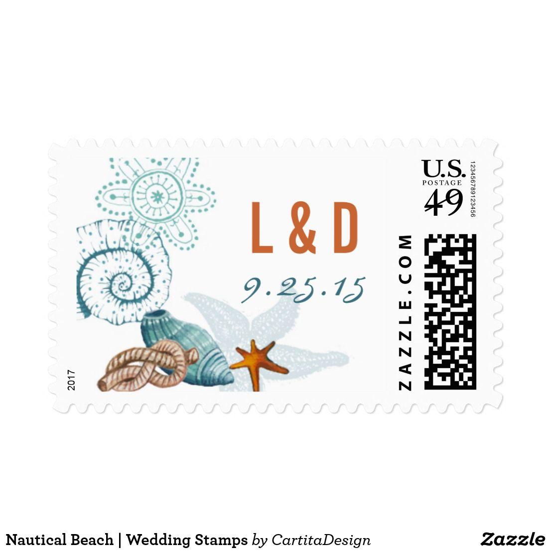 Nautical Beach Wedding Stamps
