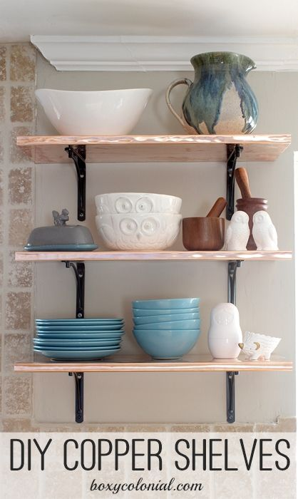 15 Clever Ways To Add More Kitchen Storage Space With Open: DIY Copper Shelves For The Kitchen -