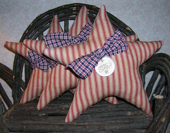 Primitive Patriotic Star Tucks Americana by auntiemeowsprims, $12.99