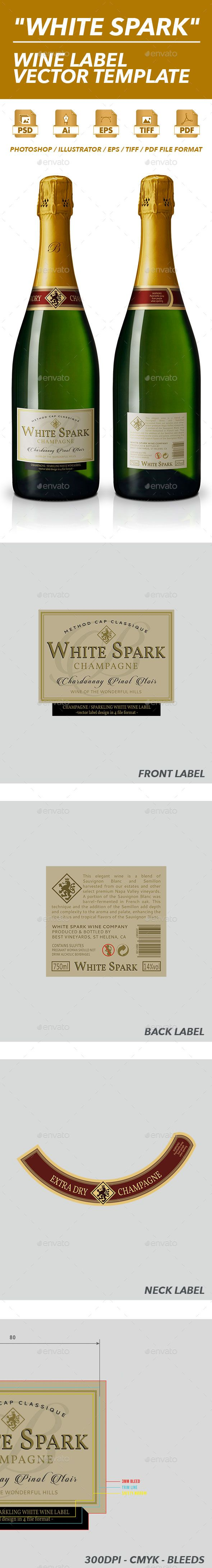 Sparkling Wine Label Vector Template  Print Templates Template
