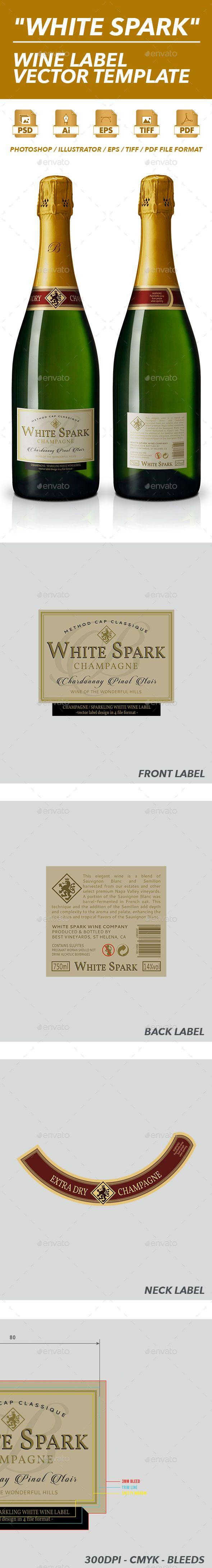 Sparkling Wine Label Vector Template Print