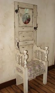 I Made This Hall Tree From An Old Door And Twin Headboard. Vintage Fabric  And