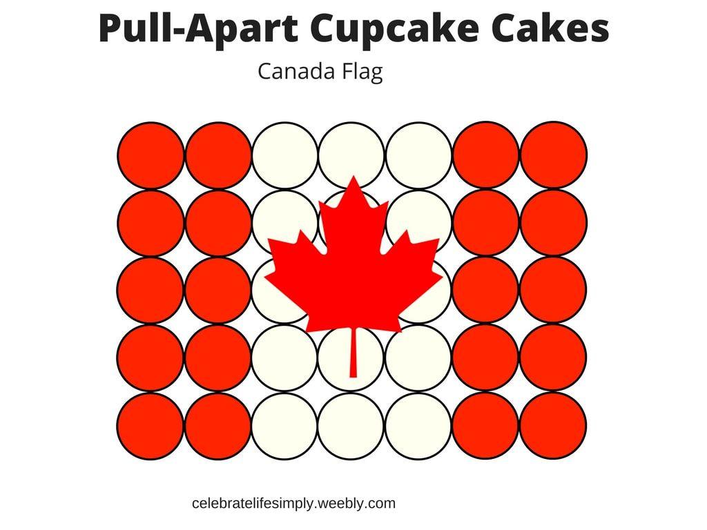 Canada Flag Pull Apart Cupcake Cake Template