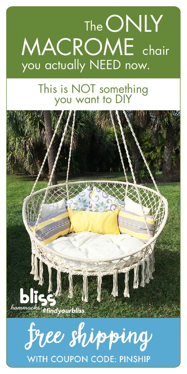 Incredible Macrame Hanging Swing Chair With Pillows Things That I Pabps2019 Chair Design Images Pabps2019Com