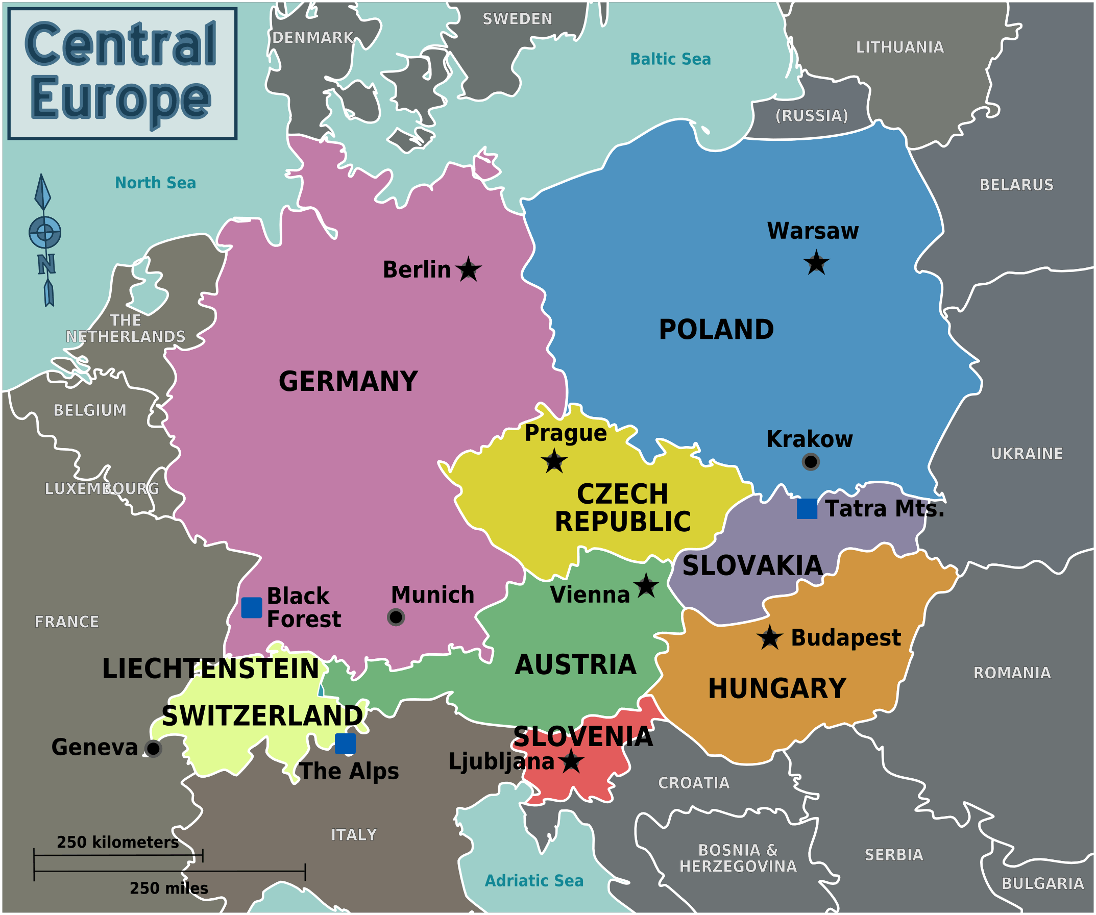 Map of Central Europe with capitals for each country. | All Things ...