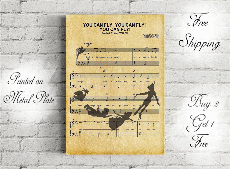Peter Pan You Can Fly Music Art Metal Print-Disney Gifts-Nursery ...