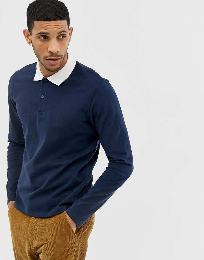 99454e7b Jack & Jones Premium long sleeve rugby shirt in navy with contrast collar