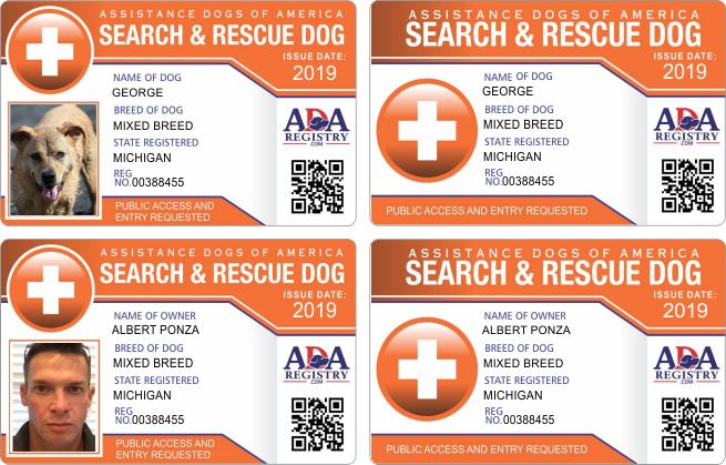 ADA RESCUE Service dog registration, Assistance dog, Dog