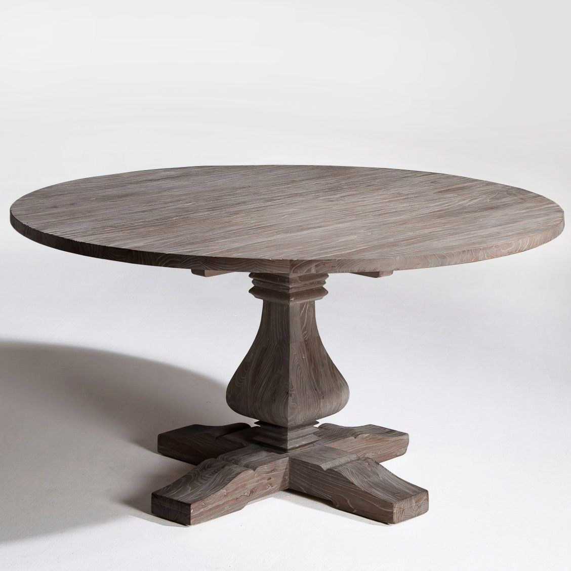 Reclaimed Wood Dining Pedestal Table With Round Top   Item   Custom Sizes U0026  Finishes Available
