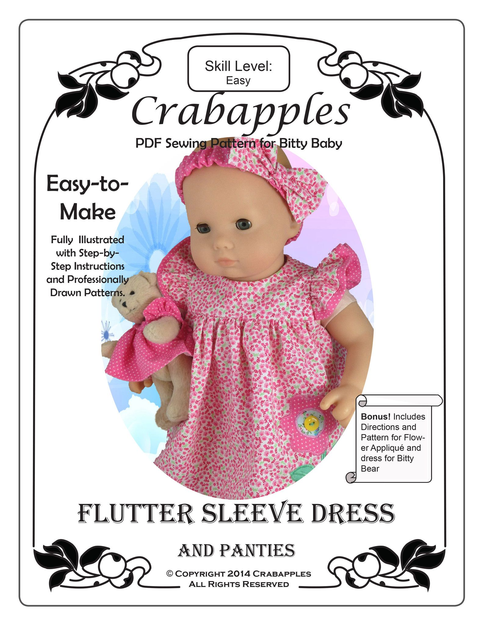 "Bitty Baby Flutter Sleeve Dress 15"" Doll Clothes Pattern"