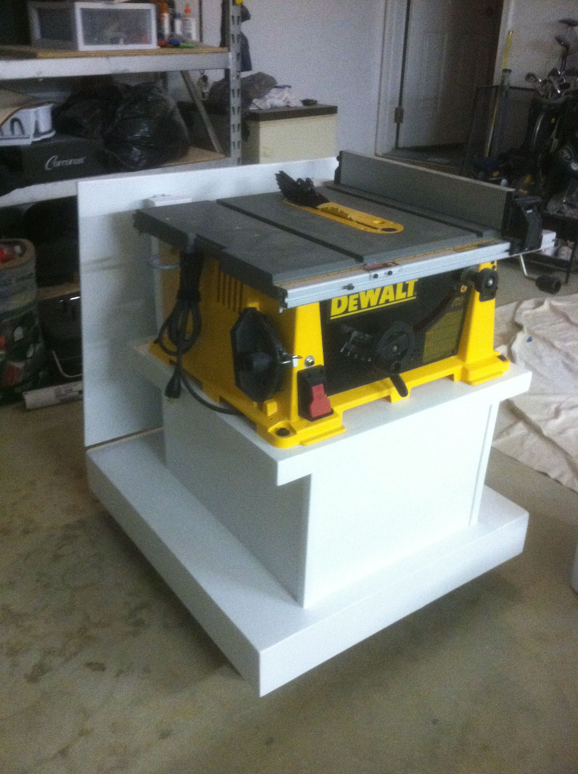 custom dewalt table saw caddy w flip up extension finished rh pinterest com