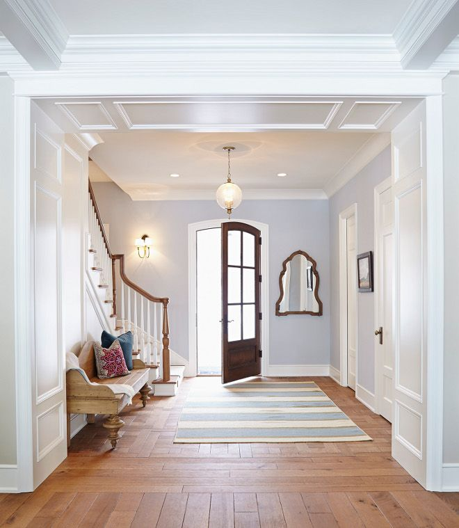 This Crisp Foyer Is Painted In Gray Screen By Sherwin