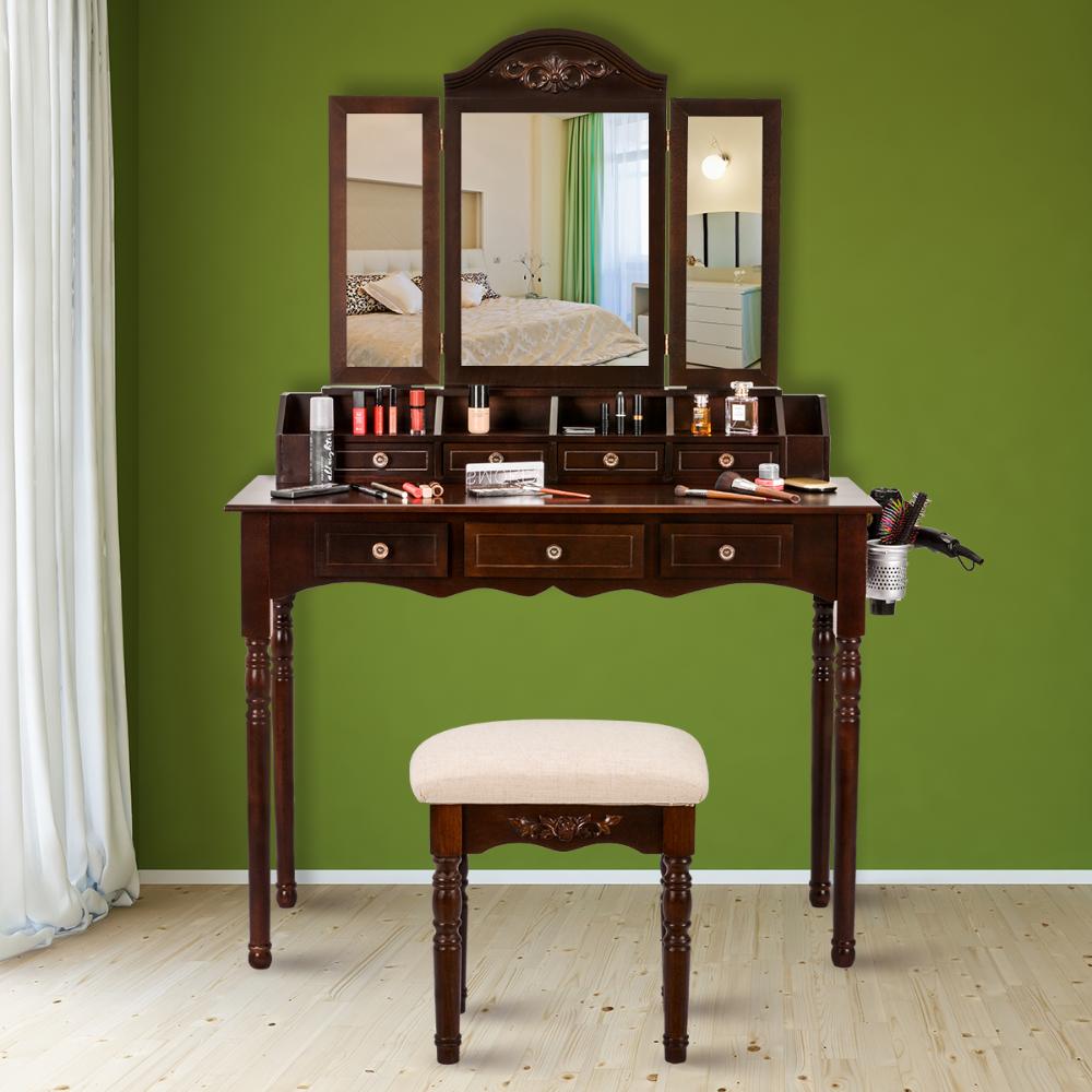 Tri Folding Vintage Vanity Makeup Dressing Table Set 7 Drawers
