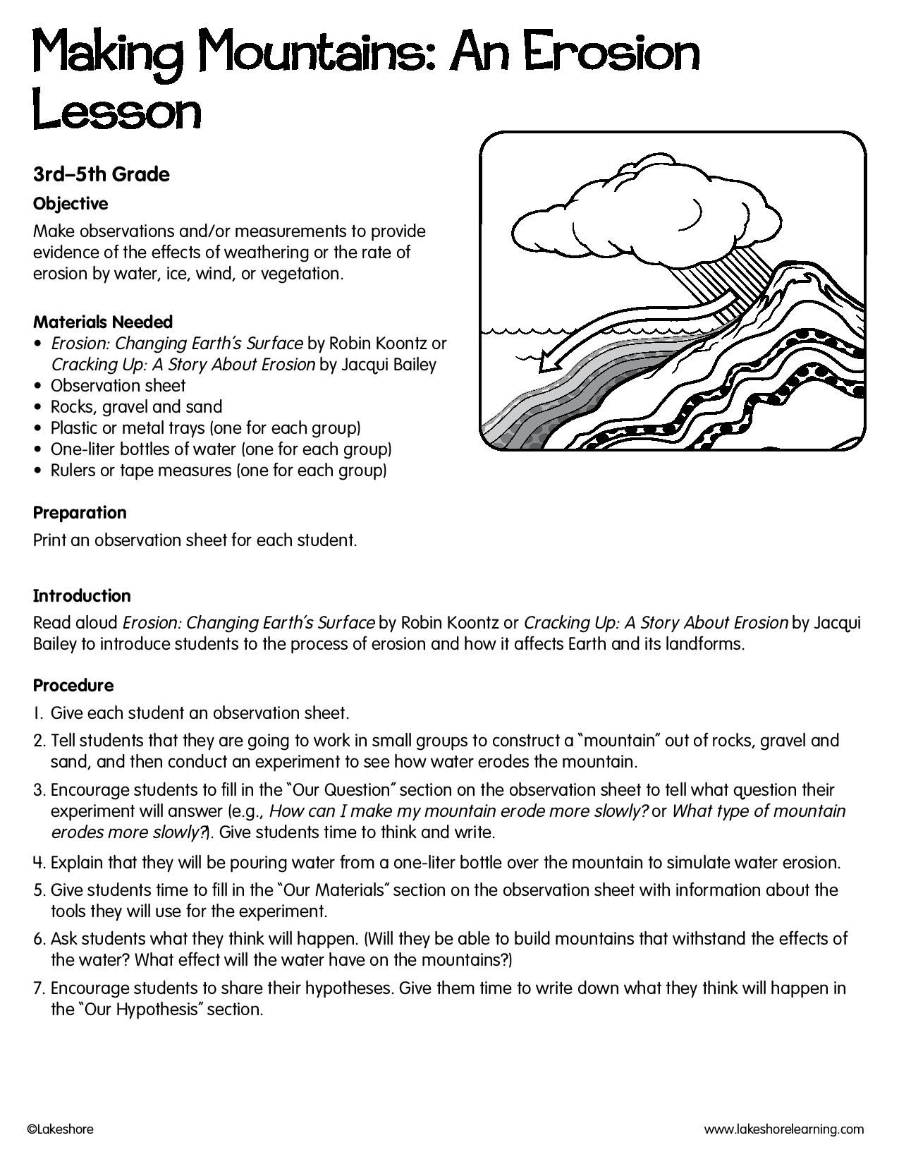 Making Mountains An Erosion Lesson Lessonplan Science Erosion Lessons 3rd Grade Writing Prompts Paragraph Writing Worksheets