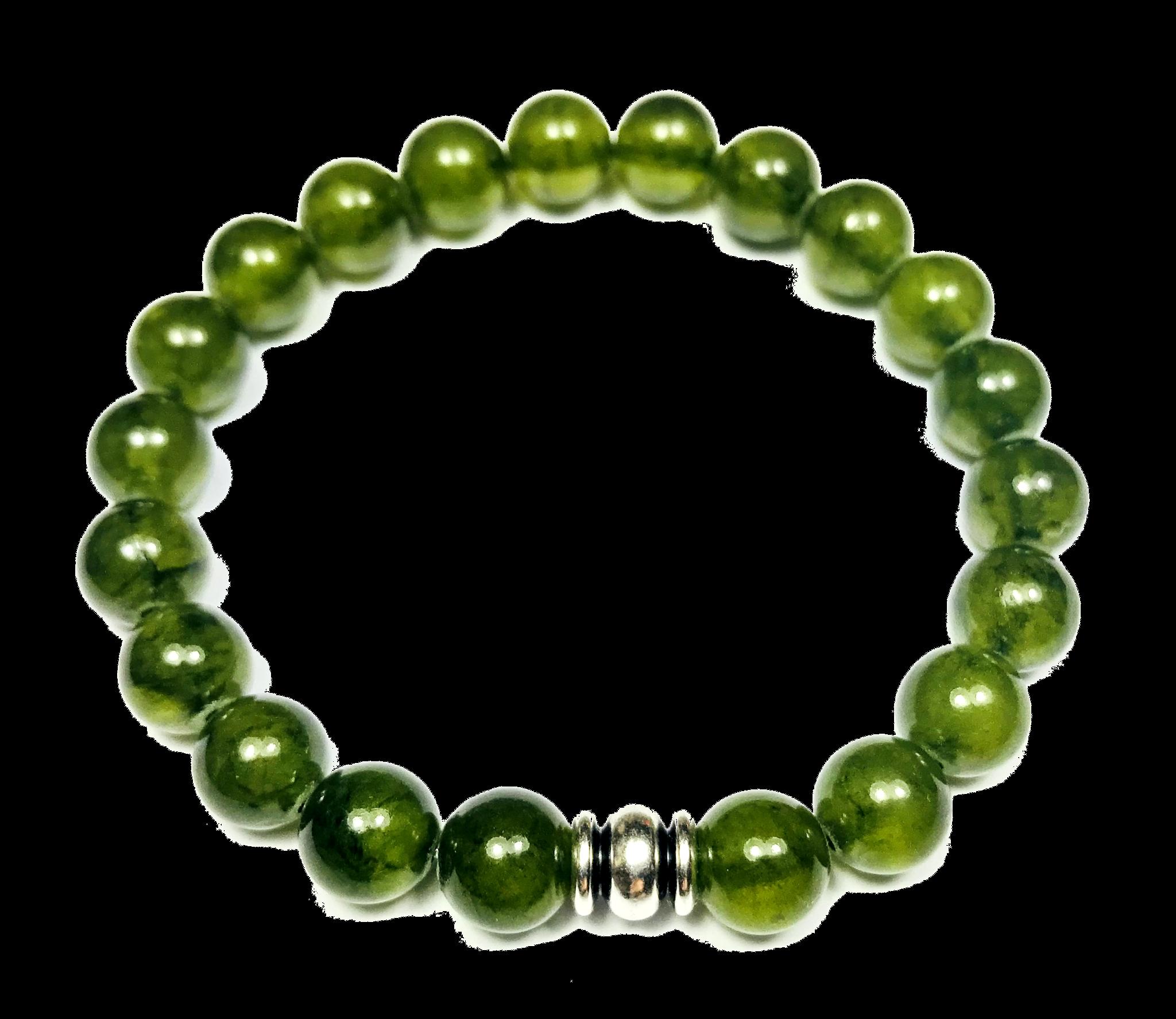 Wuhan - Bracelet en jade rainbow vert foncé pour homme Rainbow jade dark  green Bracelet for 5664b9fb2376