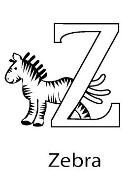 Letter Z For Animal Zebra Coloring Pages
