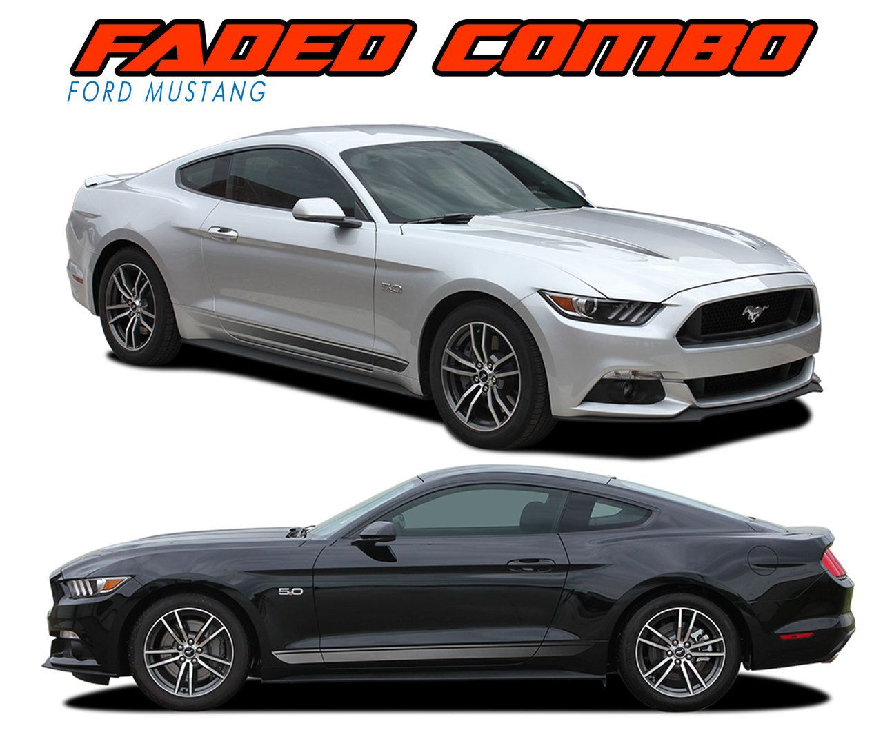 2015 2016 2017 ford mustang faded rocker panel stripes hood spears vinyl graphics kit model