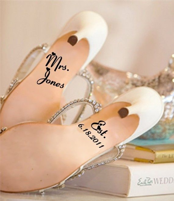love the idea of writing on the bottom of wedding day shoes... so sentimental!