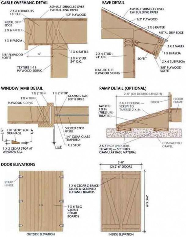 Shed Blueprints 8x12 Gable Overhang Eave Jamb Ramp And Door Shedplans In 2020 Wood Shed Plans Shed Plans Diy Storage Shed Plans