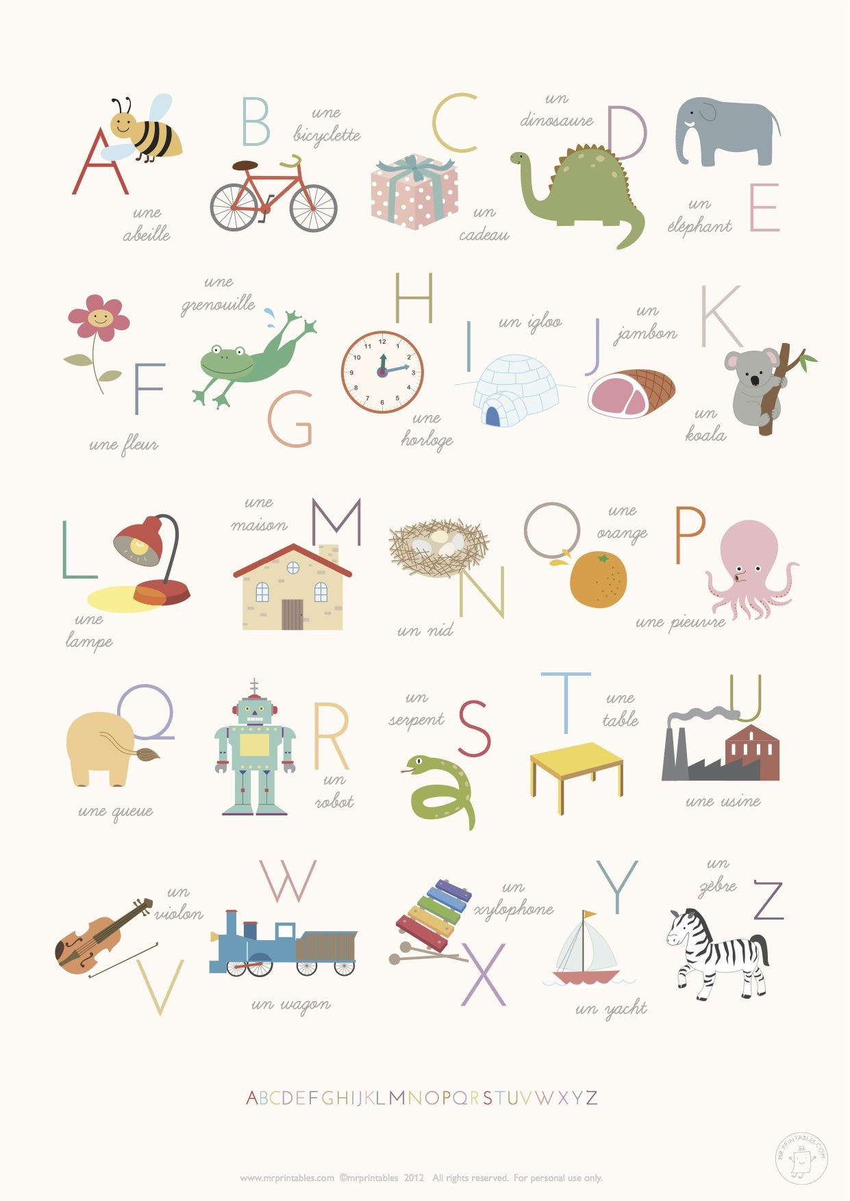 L alphabet en dessins apprendre pinterest - L alphabet en francais a imprimer ...