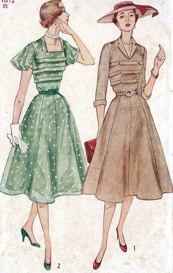 Vintage 1950s Misses Dress Sewing Pattern | Style | Pinterest ...