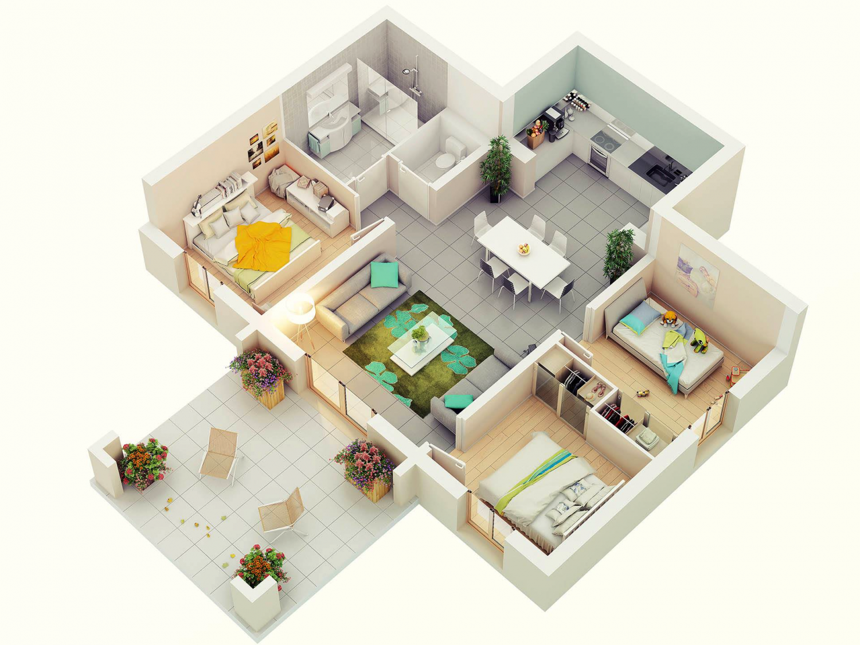 Apartment Plan In 25 More 3 Bedroom 3d Floor Plans 3d House Plans Three Bedroom House Plan Home Design Plans