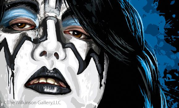 Kiss Ace Frehley Art Detail By David E Wilkinson Kiss Art